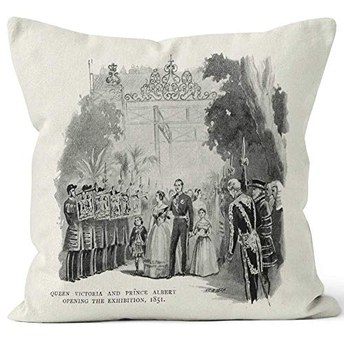 Nine City Queen Victoria and Prince Albert Opening The Great Exhibition Throw Pillow Cushion Cover,HD Printing Decorative Square Accent Pillow Case,40