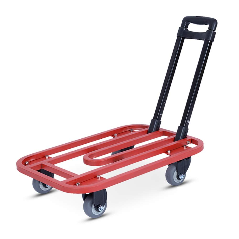 Shoutuiche Folding Flatbed Trolley Portable Trailer Small cart Luggage cart (Color : RED) LEYOUDIAN