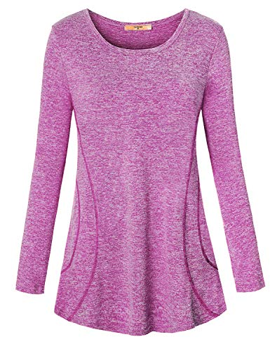 Luranee Athleisure Wear for Women, Juniors Cute Yoga Tops Stretch Gym Sport Wear Long Sleeve Running Shirts Dense Stitching Vibrant Chic Nice Fancy Fall Athletic Exercises Clothes Purple Large
