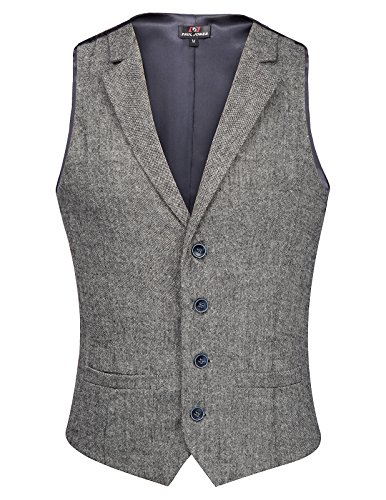 PAUL JONES Men's Dress Wests Waistcoat WoolTweed Business Suit Vest Grey by PAUL JONES