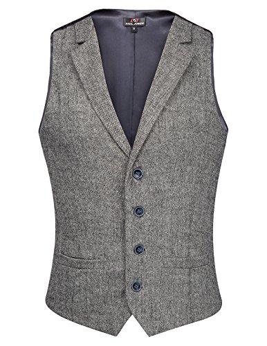 Men's Slim Fit Button Down Vests Premium Business Suit Vest Grey