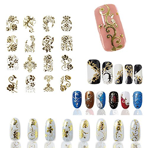 Hot Gold 3D Nail Art Stickers Decals,108pcs/sheet Top Quality Metallic Flowers Mixed Designs Nail Tips Accessory Decoration Tool by AnOs