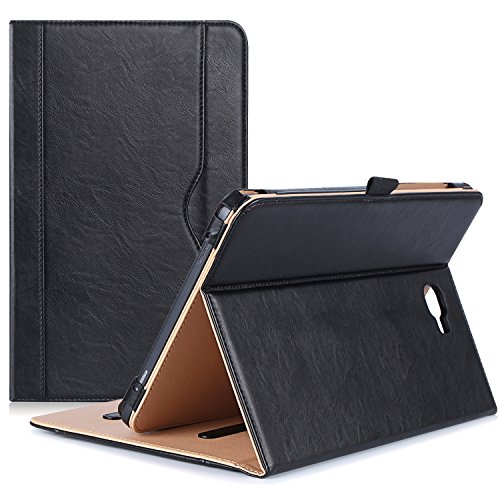 ProCase Samsung Galaxy Tab A 10.1 Case - Stand Folio Case Cover for Galaxy Tab A 10.1 Inch Tablet SM-T580 T585, with Multiple Viewing Angles, Document Card Pocket - Black (Galaxy Case Tab Samsung)