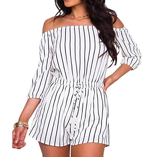 SHOWNO Women Casual Short Sleeve Cold Shoulder Wide-Leg Stripe Print Beach Party Romper Jumpsuits