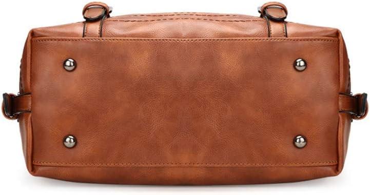 Spalla Manico Tote Bag Bauletto Borse a Spalla da Donna alla Moda Borse a Spalla Borsa a Tracolla Tote in Pelle da Donna Borsa Casual da Donna (Color : Gray) Brown