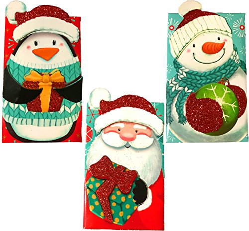 Christmas Holiday Essentials Glitter Gift Card Holders- Santa, Snowman & Penguin (3 Gift Card Holders)