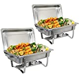ZenChef Upgraded 8 Quart Stainless Steel Chafer, Full Size Chafer, Chafing Dish w/Water Pan, Food Pan, Alcohol Furnace and Lid (2 pcs)
