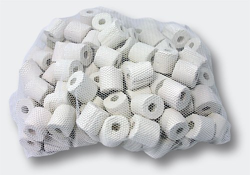 Biological Filter Ceramic Rings - 500 grams in Nylon Mesh Media Bag with PLASTIC zipper (not metal) to prevent rust/oxidation! • Aquaculture • Ponds • Aquariums by Cz Garden Supply (1 bag = 500g) (Garden Pond Bio Filters)