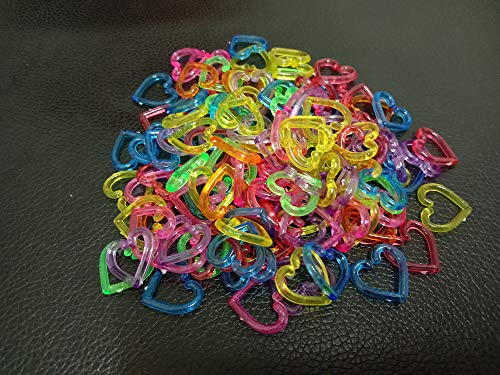 Max corner Parrot Toy C Chain Link Clip Heart Shape, Pet Bird Gliders Plastic Neon Color 120 Pcs ()