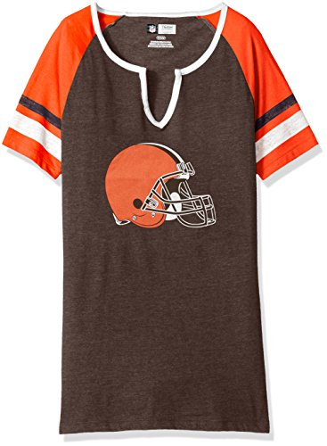 NFL Sweet Game Short Sleeve Raglan Fashion Top Cleveland Browns Classic Brown Heather/Fire Red/White Size Large