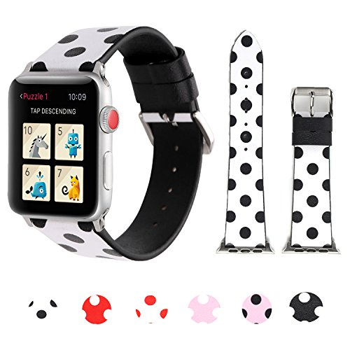 - Sport Band for Apple Watch 38mm 42mm, iWatch Strap Replacement with Polka Dot Floral Print Leather Bracelet Wristband for Apple Watch Series 3,2,1, NIKE+, Hermes, Edition (White black polka dot, 38mm)