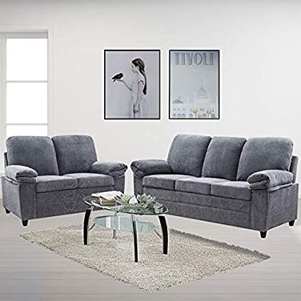 Astonishing London Luxury Edition Living Room 2 Piece Set In Grey Chenille Includes Sofa And Loveseat In Grey Download Free Architecture Designs Ogrambritishbridgeorg