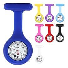Yesurprise 8PCS/Set Silicone Nurse Watch Quartz Clip-on Brooch Fob Pin Pocket Watches Montre de poche