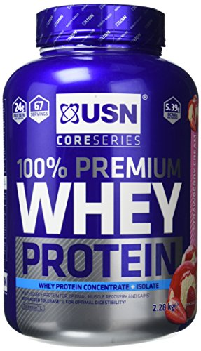 USN 100 Percent Whey Protein Strawberry Cream Muscle Development and Recovery Shake Powder, 2280 g