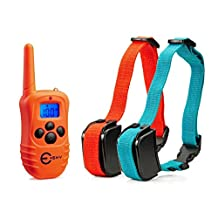 Esky 330 Yards Remote Training E-collar Rechargeable and Rainproof 2 Dog Training Collar for 2 Dogs with Safe Beep, Vibration and Shock Electronic Electric Collar For Medium or Large Dog Trainer