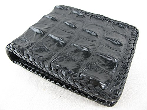PELGIO Genuine Crocodile Alligator Backbone Skin Handmade Bifold Wallet (Black)