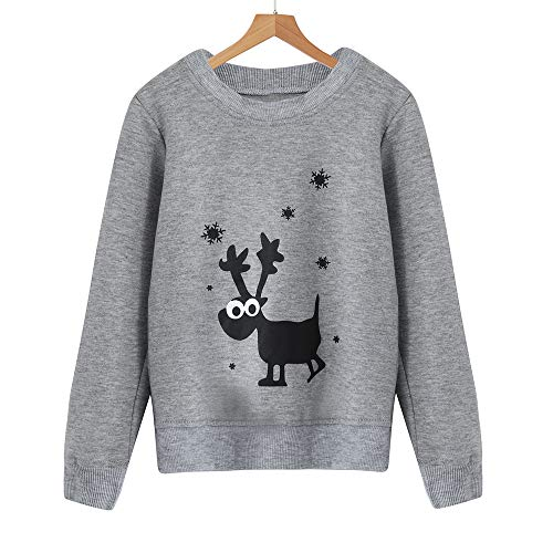 FimKaul Family Matching Mother Kid Dady Deer Print Sweatshirt Long Sleeve Christmas Pullover Tops(Baby Grey,M)