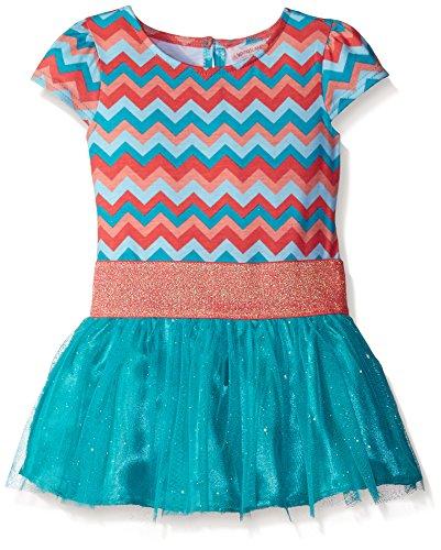 Youngland Little Girls' Jersey Chevron Printed Drop Waist Tutu Dress, Turquoise/Multi, - Drop Dress Printed Waist
