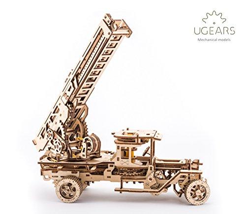 UGears Fire Truck with Ladder mechanical wooden model KIT 3D