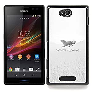 "Qstar Arte & diseño plástico duro Fundas Cover Cubre Hard Case Cover para Sony Xperia C (Winter Is Coming Stark"")"