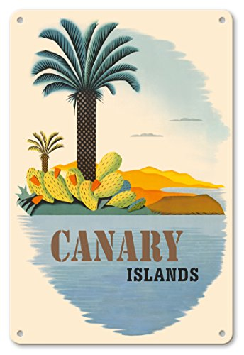 Pacifica Island Art 8in x 12in Vintage Tin Sign - Canary Islands - Palm Trees and Cactus