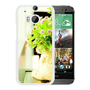New Beautiful Custom Designed Cover Case For HTC ONE M8 With Tiny Flower Beside Window (2) Phone Case