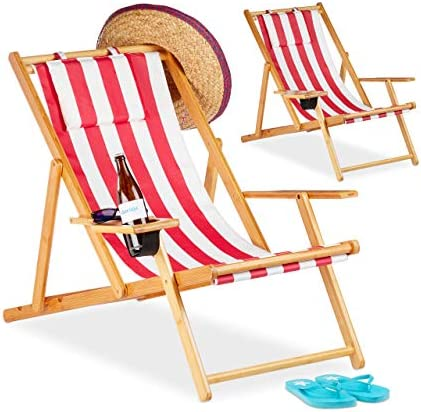 Relaxdays Pack 2 Tumbonas Plegables Jardín Playa con Soporte para Bebidas, Bambú, Rojo, 65, 5-85, 5 x 71, 5 x 100 cm: Amazon.es: Jardín