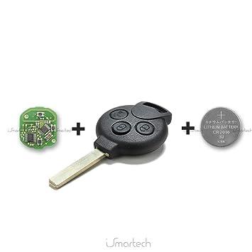 Llave Carcasa Mando a distancia 3 botones para Smart Fortwo 450 451 Forfour Roadster Chip y batería)