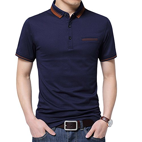 Womleys Mens Casual Slim Fit Short Sleeve Collared Polo T Shirt (US Large, Navy Blue)