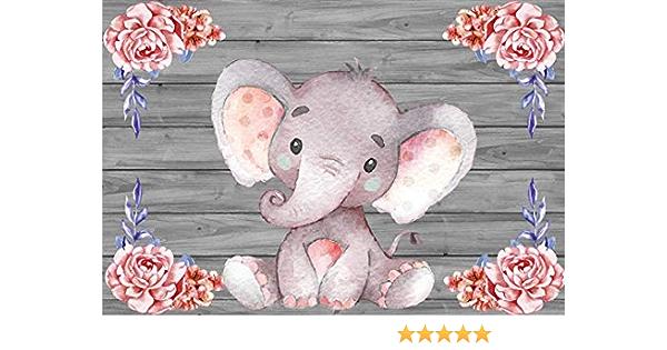 Yeele 5x3ft Baby Shower Photography Background Cartoon Bathing Elephant Pink Square Lattice Happy Birthday Party Decoration Girl Boy Child Photo Backdrop Portrait Studio Props