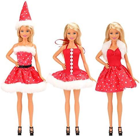 [해외]Mylass 3피스 옷 세트 EU CE-EN71 인증된 크리스마스 옷 파티 Grown 의상 포함 11.5인치 바비 인형 / Mylass 3 Pcs Clothes Set EU CE-EN71 Certified Include Christmas Clothes Party Grown Outfits for 11.5 Inch Barbie Dolls