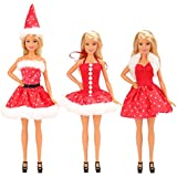 Mylass 3 Pcs Clothes Set EU CE-EN71 Certified Include Christmas Clothes Party Grown Outfits for 11.5 Inch Barbie Dolls