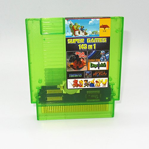 143 in 1 NES Super Games Multi Cart 72 PIN, Transparent Green, Latest Version