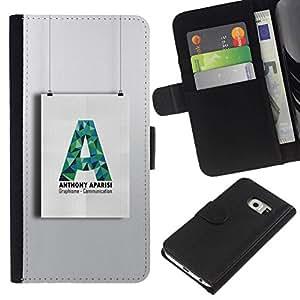 All Phone Most Case / Oferta Especial Cáscara Funda de cuero Monedero Cubierta de proteccion Caso / Wallet Case for Samsung Galaxy S6 EDGE // A Art Wall Shape Paper Hanging
