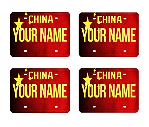 BRGiftShop Personalize Your Own License China Flag Country Plate Set of 4 Square Beverage Coasters