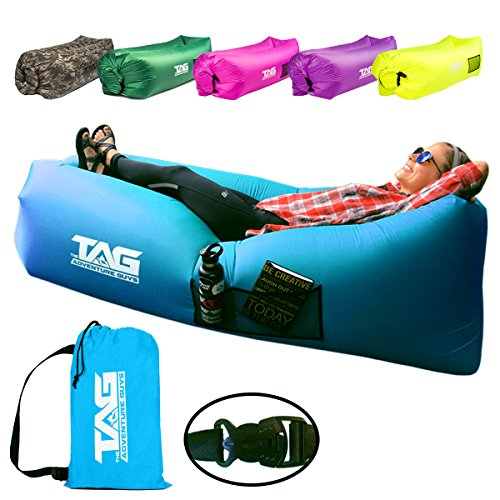 Inflatable Lounger Air Sofa - Seconds to Inflate & Puncture Resistant w/ Metal Securing Stake + 3...