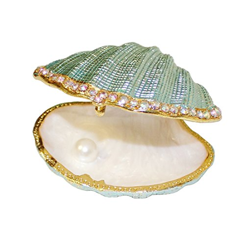 (MICG 3 inch Vintage Pearl Mussel Hinged Trinket Box Wedding Ring Holder Metal Seashell Figurine Mother's Gift)