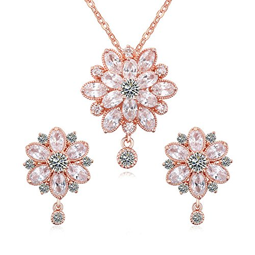 Everrich Women's Swarovski Elements Crystal Flower Pendant Necklace Earrings Wedding Jewelry Sets for Bridesmaids (Pearls Swarovski Pink Rose)