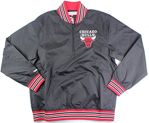 Mitchell & Ness 1/4 Zip Nylon Pullover Chicago Bulls in Black (Medium) (Best Curry In Chicago)