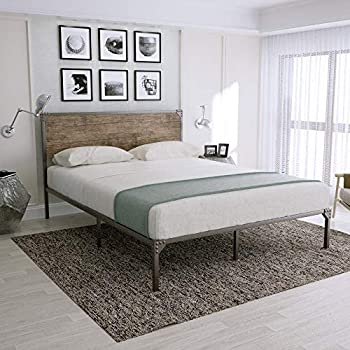 Image of Full Size Metal Bed Frame/Platform Bed with Wood Headboard/Box Spring Optional/Easy Assembly