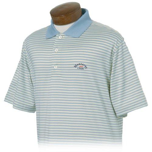Monterey Club Mens Cotton Stripe Jersey Shirt #1266 (Cadet Blue/Lumina,X-Large)