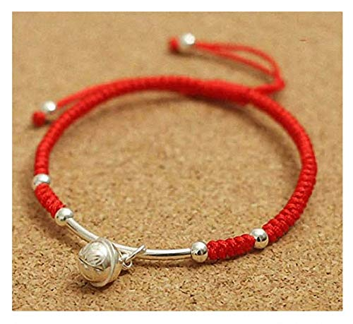Giwotu Womens Real 925 Sterling Silver Amulet Handmade Lucky Bell Bracelet Red Rope Bangle Jewelry