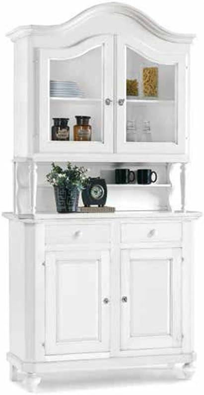 Arte povera Mis in Legno massello e MDF con rifinitura in Bianco Opaco InHouse srls Mobile con cristalliera 112 x 45 x 220