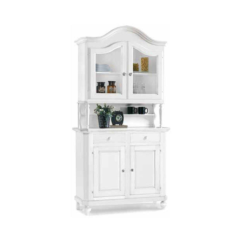 in Legno massello e MDF con rifinitura in Bianco Opaco InHouse srls Mobile con cristalliera 112 x 45 x 220 Arte povera Mis