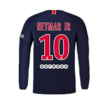 new product fa6f9 2cf04 #10 Neymar Jr Paris Saint-Germain (PSG) Soccer Jersey Long Sleeve 2018-2019  Season Blue