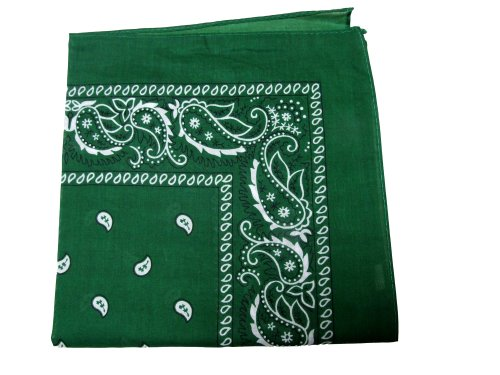 New Double Sided Print Paisley Bandana Scarf, Head Wrap (Forest Green, 22