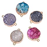 Pandahall 5PCS Mixed Dyed Plated Natural Druzy Agate Flat Round Links for Bracelet Making