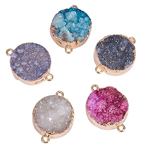 Pandahall Elite 5PCS Mixed Dyed Plated Natural Druzy Agate Pendents Charms Flat Round Links Charms for Bracelet Making