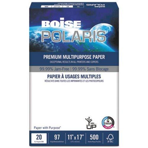 BOISE POLARIS Premium Multipurpose Paper, 11 x 17, 97 Bright White, 20 lb, 5 ream carton (2,500 Sheets)