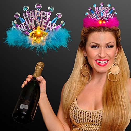 New Years Party Princess Tiara with Flashing LED Star (Set of 2)]()
